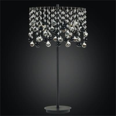 Black and Clear Drops Table Lamp | Crystal Rain