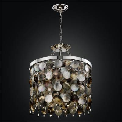 Drum Shape Mother of Pearl Shell Pendant Chandelier | Black Magic 586H