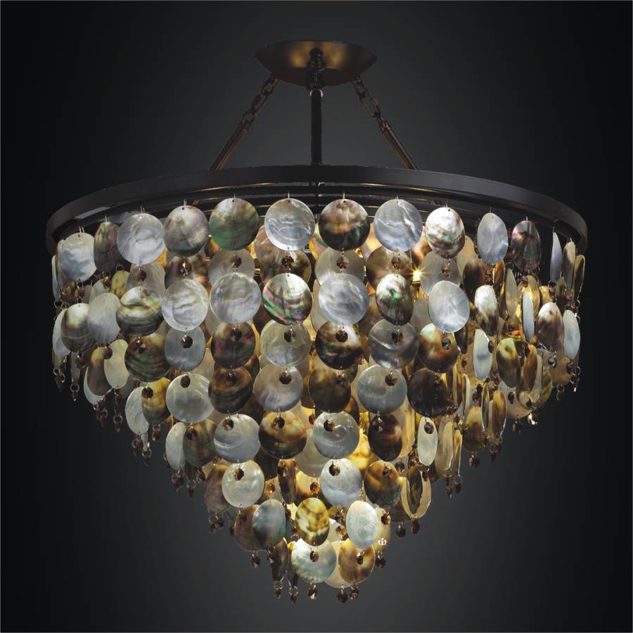 Beautiful Mother Of Pearl Hanging Chandelier | Black Magic 586V By GLOW Lighting
