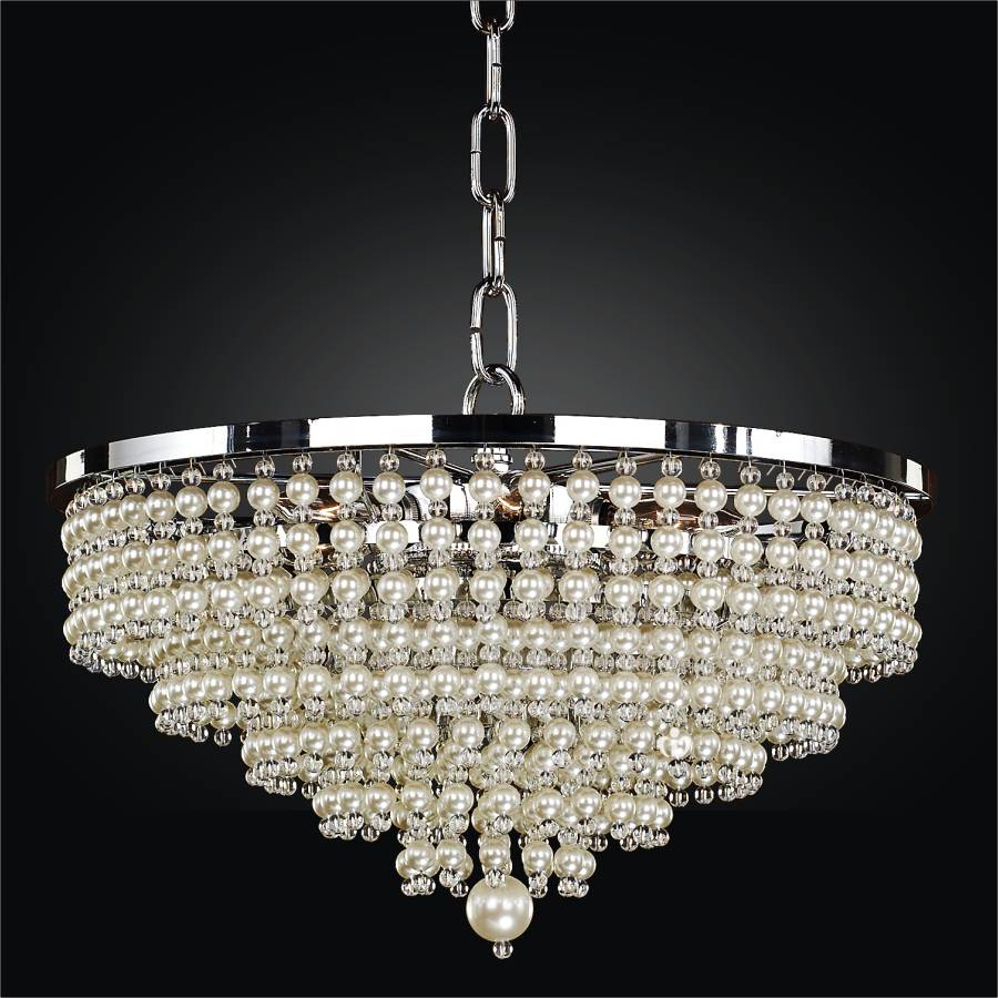 Pendant Chandelier Trimmed With Faux Pearl Beads 639 by GLOW Lighting