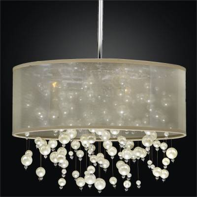 Drum Shade Chandelier – Pearl Like Beads | Champagne 640