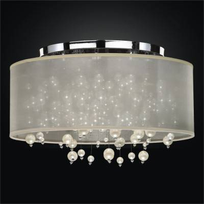 Drum Shade Flush Mount Ceiling Light – Pearl Like Beads | Champagne 640