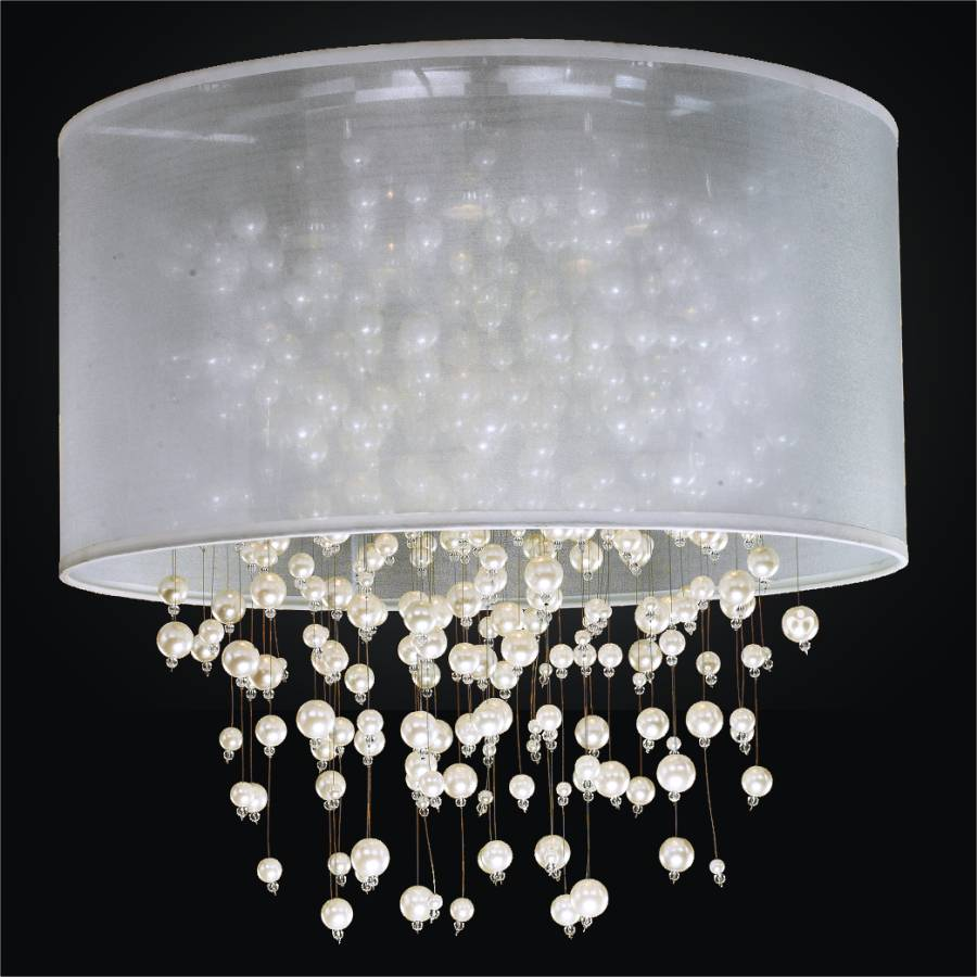 Drum Shade Flush Mount Ceiling Light Pearl Like Beads