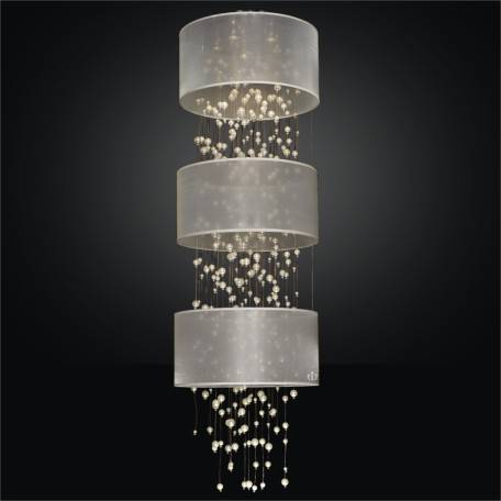Drum Shaded Beaded Foyer Flush Mount | Champagne 640 by GLOW Lighting
