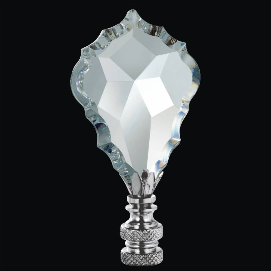 Crystal Lamp Finial - Crystal Leaf | Finials by GLOW Lighting