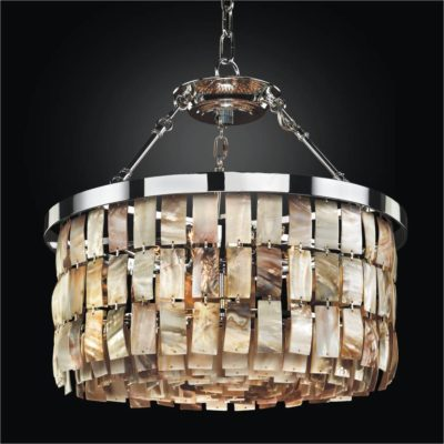 Drum Shape Oyster Shell Chandelier | La Jolla 619