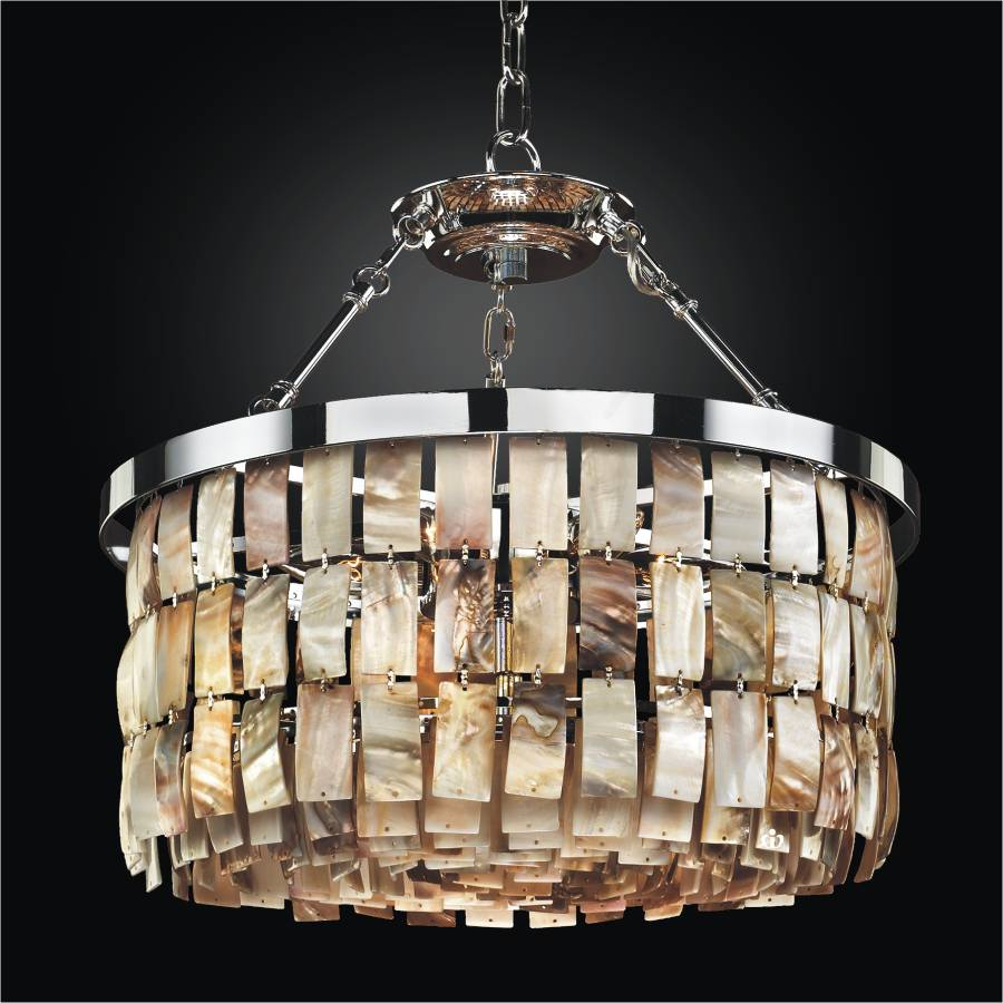 Rectangular Shaped Opalescent Shell Chandelier to Semi
