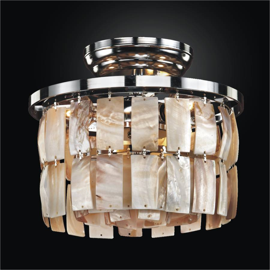 Wall Mounted Oyster Lights : Small Flush Mount with Oyster Shell La Jolla 619 GLOW Lighting