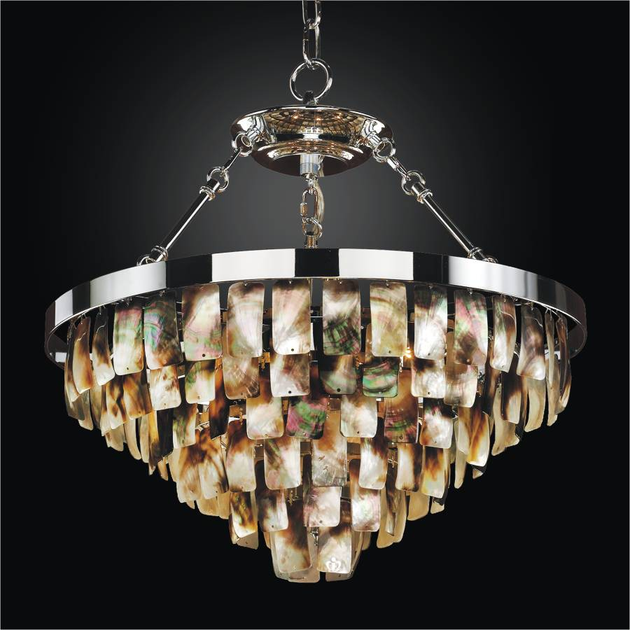 Tiered Mother of Pearl Pendant Chandelier