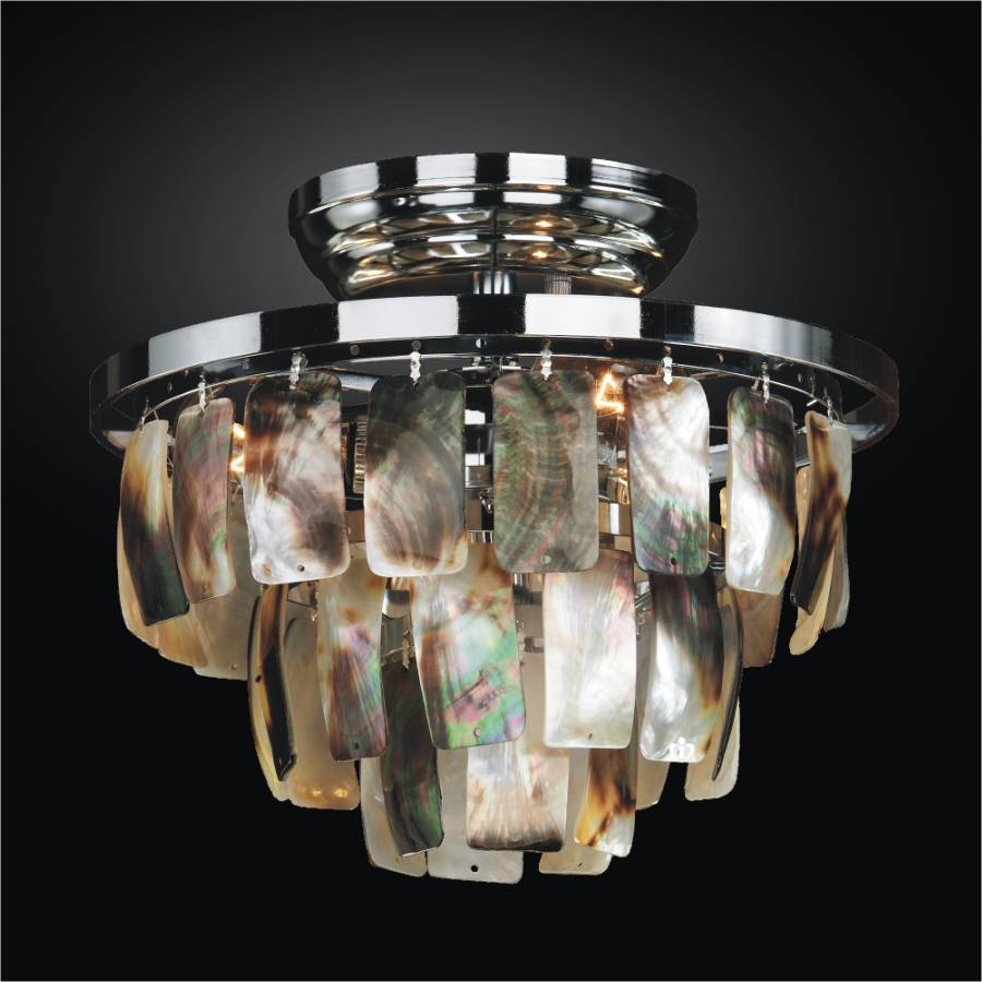 Small Flush Mount with Mother of Pearl Shell | Malibu 618 by GLOW Lighting