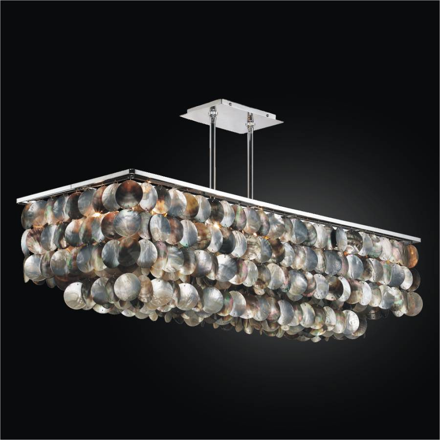 Superb Large Rectangular Chandelier With Mother Of Pearl | Montego Bay 633