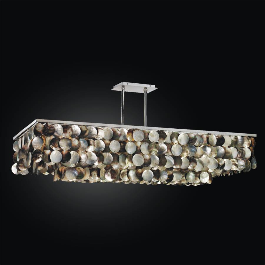 Large Rectangular Chandelier with Mother of Pearl | Montego Bay 633 by GLOW Lighting