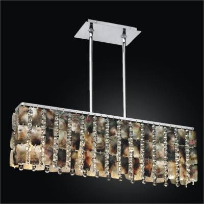 Linear Chandelier with Mother of Pearl and Crystal | Moon Beams 631