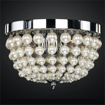 Lustrous Champagne Pearl Bead Empire Basket Flush Mounts| Moscato 642