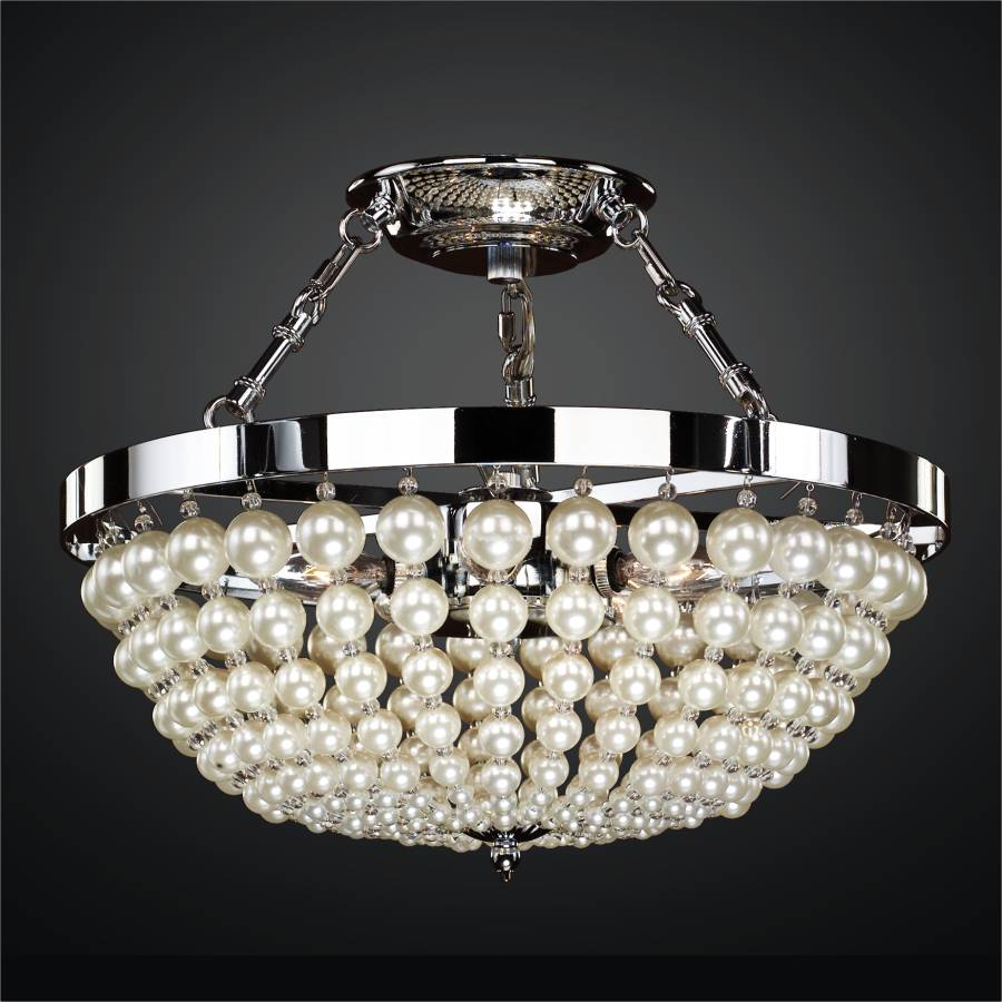 Lustrous Champagne Pearl Bead Empire Basket Semi Flush Mounts| Moscato 642