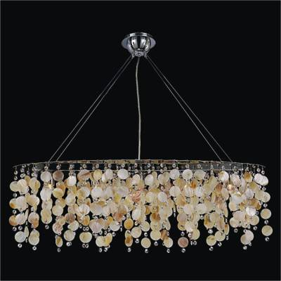 Oval Chandelier with Oyster Shell and Crystal | Seaside Dreams 578