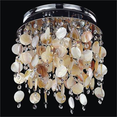 Oyster Shell Flush Mount with Crystal | Seaside Dreams 578