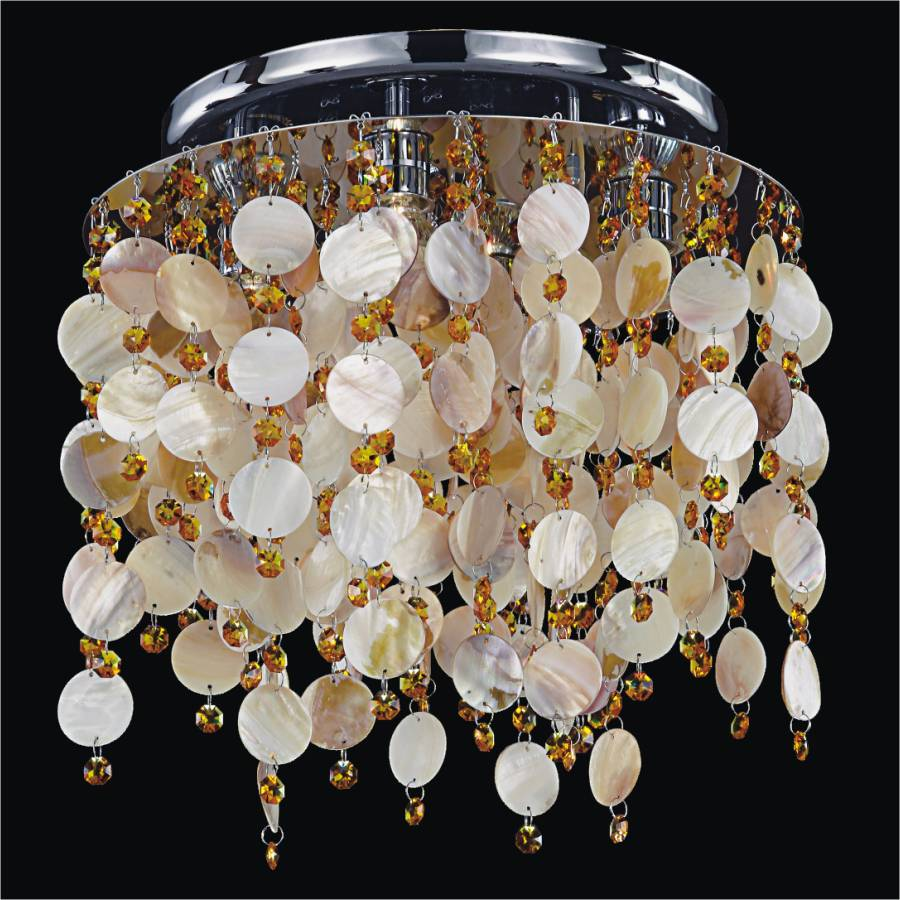 Seaside dreams oyster shell crystal flush mount by GLOW Lighting
