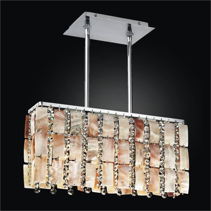 Oyster Shell Chandelier – Rectangular Chandelier | Tropical Paradise 632YM3LSP-7C