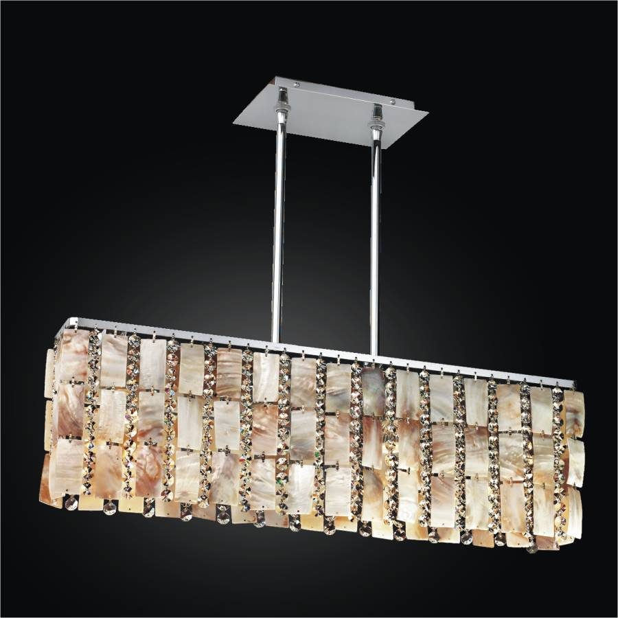 Oyster Shell Chandelier – Rectangular Chandelier | Tropical Paradise 632YM4LSP-7C