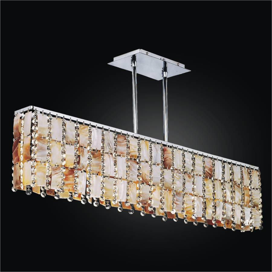 Oyster Shell Chandelier – Rectangular Chandelier | Tropical Paradise 632YM5LSP-7C