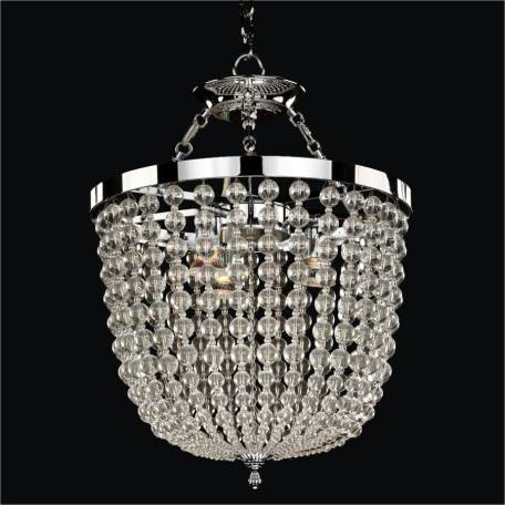 Arcadia smooth crystal pendant chandelier semi flush mount by GLOW Lighting