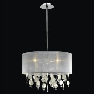 Drum Shaded Capiz Shell Pendant Chandelier | Around Town 005