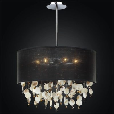 Drum Shaded Oyster Shell Pendant Chandelier | Around Town 005