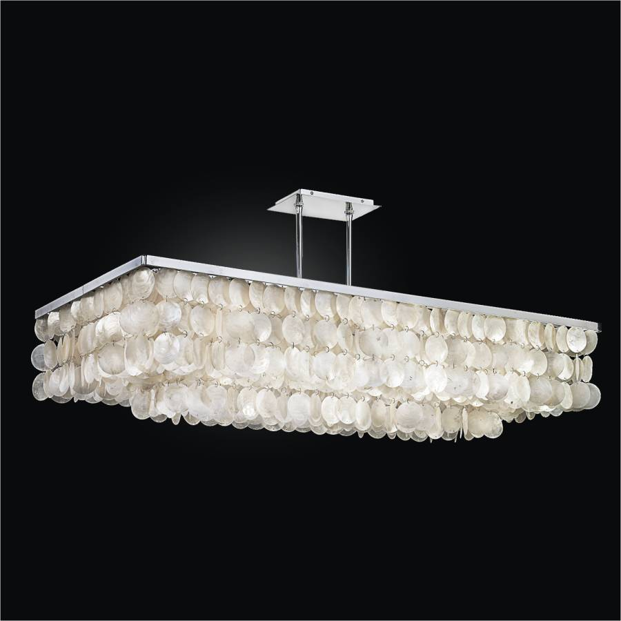 Large Rectangular Capiz Chandelier | Bay Breeze 634 by GLOW Lighting