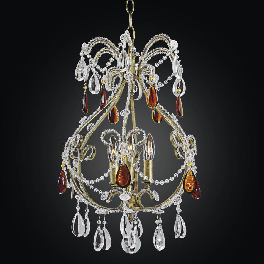 Beaded Mini Pendant with Color Crystal | Beaded Fantasy 559 by GLOW Lighting