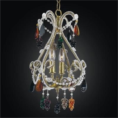 Crystal Beaded Mini Chandelier with Color Crystals | Beaded Fantasy 559