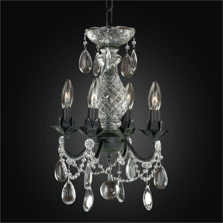 Beaded fantasy painted finish mini crystal pendant chandelier by GLOW Lighting