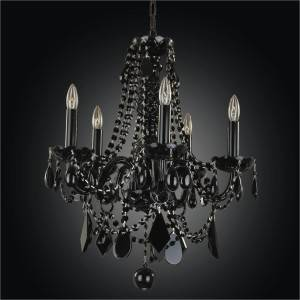 Black tie black crystal arm chandelier by GLOW Lighting