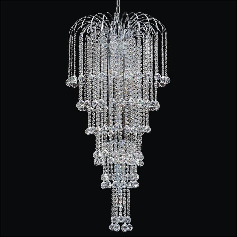 Faceted Ball Waterfall Grand Chandelier | Cascade – GLOW ...