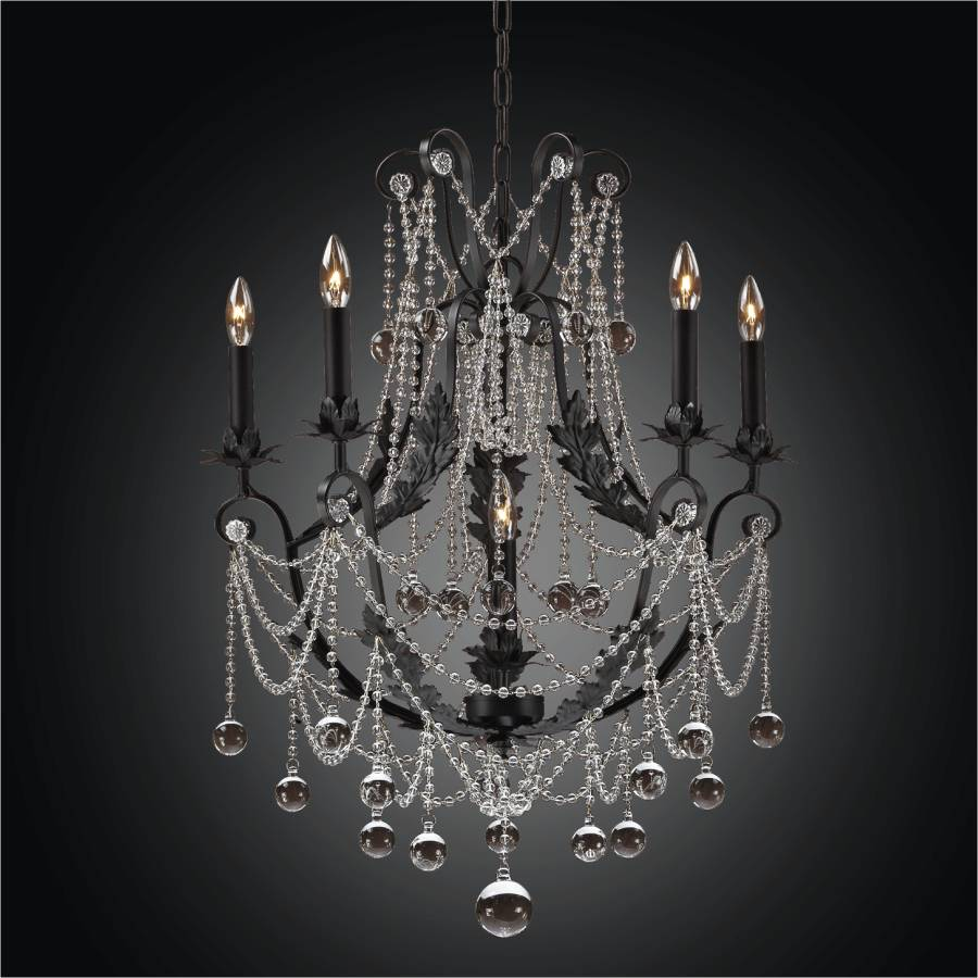Black Iron Chandelier – Beaded Chandelier | Chateau Chic 602BD6LMI-7C