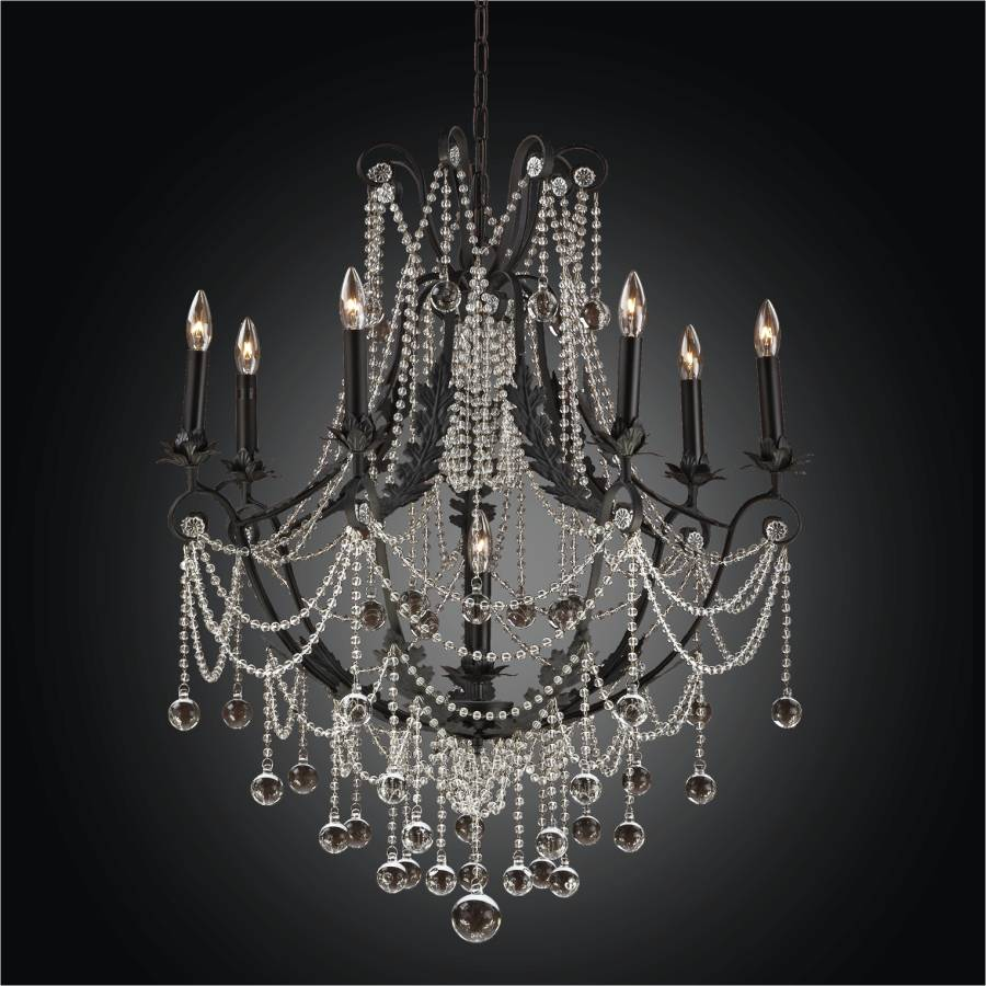 Black Iron Chandelier - Beaded Chandelier | Chateau Chic 602 by GLOW Lighting