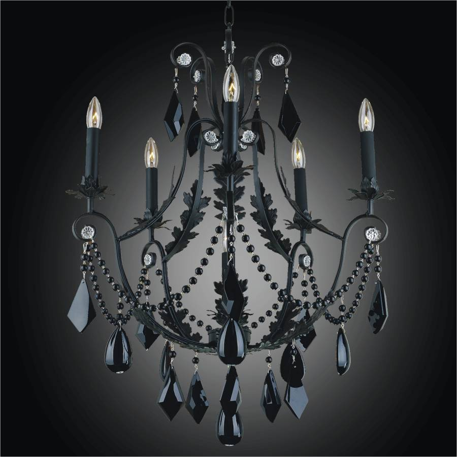 Wrought Iron And Black Crystal Chandelier Chateau Four Glow Lighting