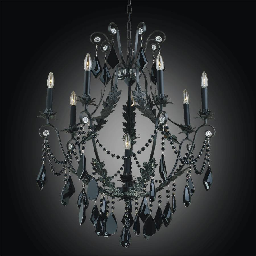 Wrought Iron And Black Crystal Chandelier Chateau 554