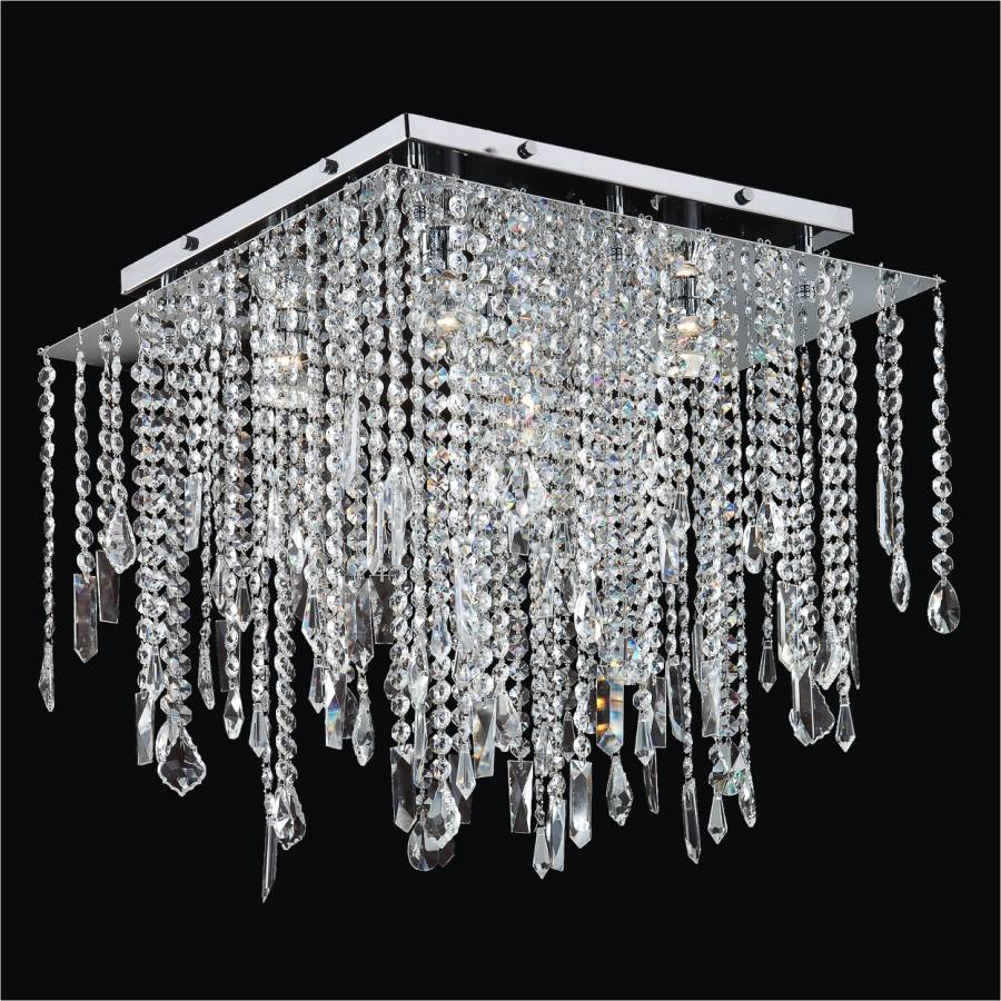 Square Crystal Ceiling Light Crystal Drop Flush Ceiling Light