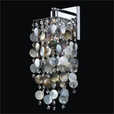 Dark Mother of Pearl and Crystal Sconces | Cityscape 598