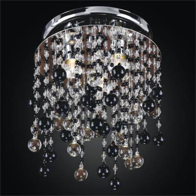 Beaded Flush Mount – Black and White Lights  | Crystal Rain 566J