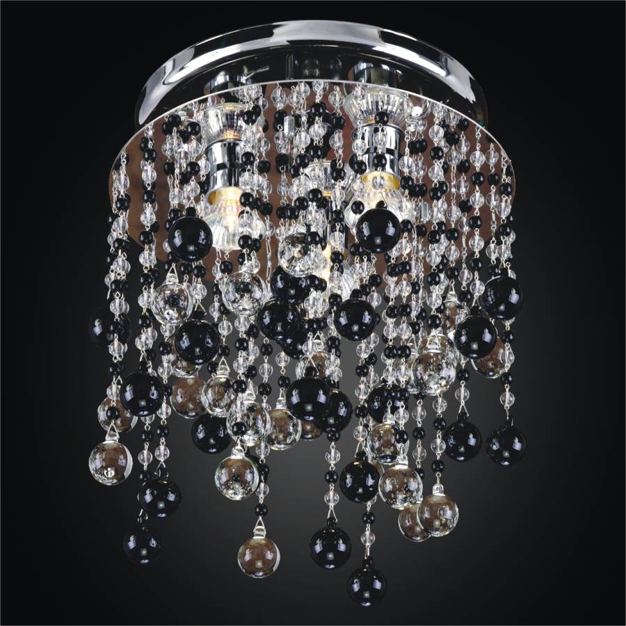 Black and White Crystal Ceiling Light | Crystal Rain 566J by GLOW Lighting
