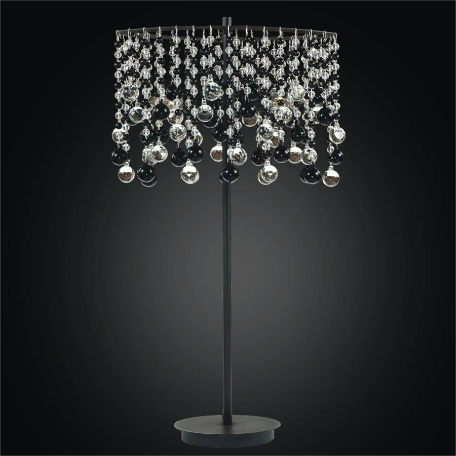 Crystal Bead Table Lamp With Black And Clear Crystal | Crystal Rain 566 By  GLOW Lighting