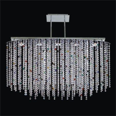 Oval Crystal Pendant Chandelier with Colored Crystal | Crystal Rain 565C