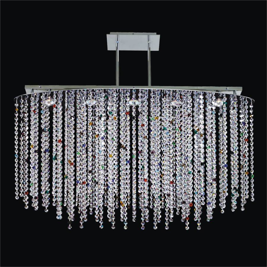 Multi Colored Chandelier | Crystal Rain 565C by GLOW Lighting