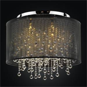 Drum Shade Light Fixture | Crystal Rain 566B by GLOW Lighting