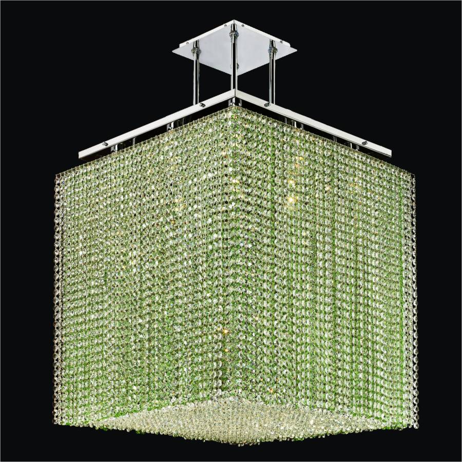 Cube2 square shape crystal chandelier by GLOW Lighting