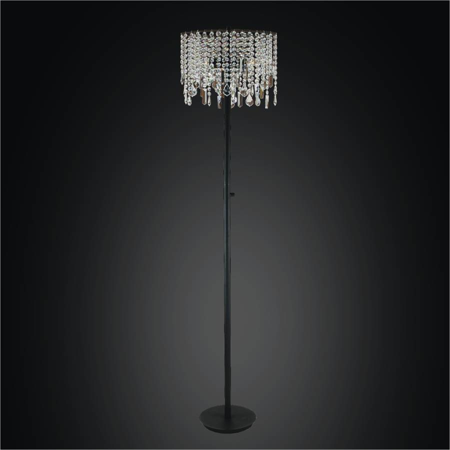Crystal Floor Lamp With Assorted Shape Crystal Trim | Divine Ice by GLOW Lighting