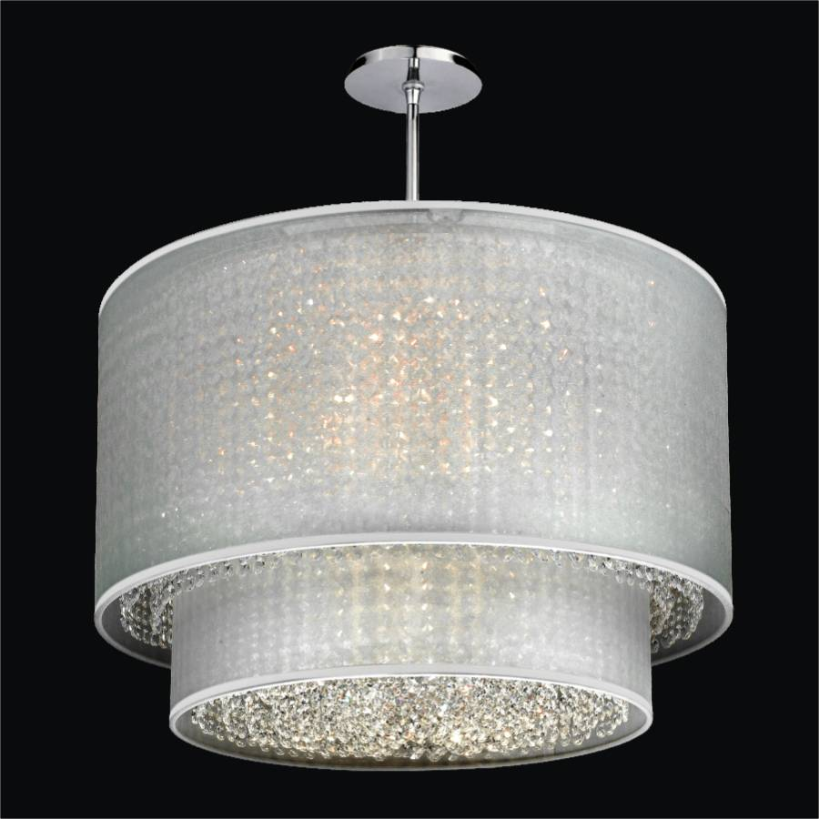 Double drum shade chandelier duet 601 glow lighting - Lighting and chandeliers ...