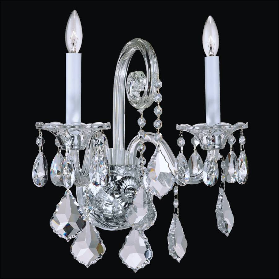 Crystal candle wall sconce dynasty 557 glow lighting traditional crystal wall sconce by glow lighting amipublicfo Gallery
